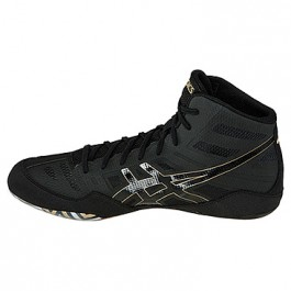 Asics JB Elite Adult Wrestling Shoes black-onyx-olympic gold