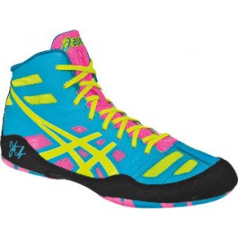 Asics JB Elite Adult Wrestling Shoes teal-yellow-pink