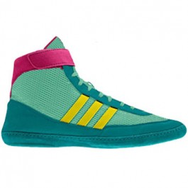 Adidas Combat Speed 4 Wrestling Shoes emerald-yellow-pink