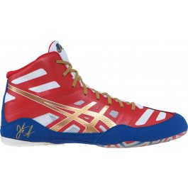 Asics JB Elite Adult Wrestling Shoes red-gold-white