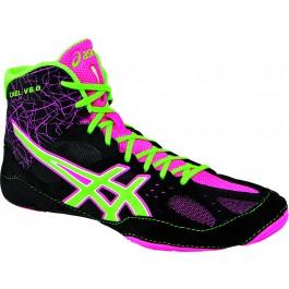 Asics Cael V6.0 Adult Wrestling Shoes black-green-pink